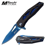 Pocket Knife by Mtech Spring Assisted Knife Tinite Blue Blade