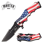 Tactical Blade Pocket Knife Spring Assisted Knife USA Flag Handle