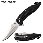 Tac Force Tactical Knife Tanto Blade Spring Assisted Knife Black