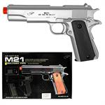 M1911 Airsoft Spring Pistol M21 Military Style Gun 1911 Replica Silver