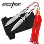 2 Piece Silver Stainless Steel Throwing Knives with Tassles - 5