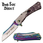 Black Widow Spider Spring Assisted Folding Pocket Knife Rainbow Blade