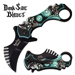 Tactical Karambit Spring Assisted Pocket Knife Green Skull Handle