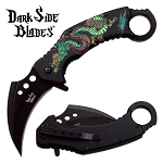 Karambit Knife Spring Assisted Knife Black Green Dragon Pocket Knife