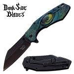Pocket Knife Stone Washed Spring Assisted Knife Green Dragon Eye