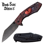 Pocket Knife Stone Washed Spring Assisted Knife Red Dragon Eye