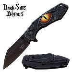 Pocket Knife Stone Washed Spring Assisted Knife Black Dragon Eye