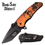 Spring Assisted Knife Orange Skull EDC Pocket Knife