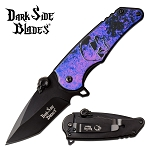 Spring Assisted Knife Purple Skull EDC Pocket Knife