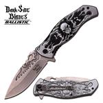 Dark Side Blades Action Spring Assisted Knife - Grey Black Skull Handle