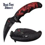 Dragon Handle Spring Assisted Folding Pocket Knife Red