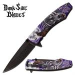 Dark Side Blades Spring Assisted Folding Pocket Knife Purple Wolf