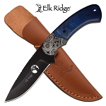 8 Inch Fixed Blade Hunting Knife Blue Pakkawood Handle
