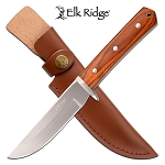 Hunting Knife Full Tang Fixed Blade Knife Polished Brown Pakkawood