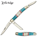 Elk Ridge Manual Pocket Knife Stockman Knife Stone Mother of Pearl