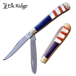 Elk Ridge Manual Pocket Knife Trapper Knife American Flag