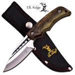 Elk Ridge 7 Inch Fixed Miror Blade Hunting Knife - Brown Camo