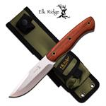 Elk Ridge 10 Inch Satin Finished Fixed Blade Knife - Rose Wood Handle