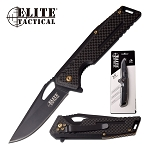 Elite Tactical Manual Folding Pocket Knife Black Carbon Fiber Handle