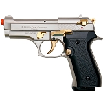 Firat Compact V92F Satin Finish With Gold Fittings - Front Firing Blank Gun