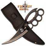 Ninja Knuckle Fighter Knife with Sheath - Grey Cord Wrapped Handle