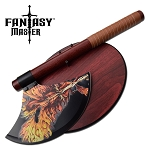 Dragon Artwork Fantasy Axe with Wood Plaque