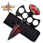 7 Inch Red Flame Dragon Fantasy  Push Dagger Knife