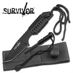 Survivor 7 Inch Fixed Blade Survial Camping Knife with Fire Starter - Black