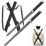 2 Piece Ninja Sword Set with Cast Metal Guards and Pommels