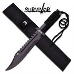 Survivor 13.5 Inch Fixed Blade Knife with Cord Wrapped Handle and Sheath