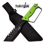 Survivor 14 Inch Tactical D Guard Handle Fixed Blade Knife - Green