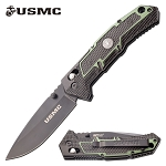 USMC Marines Manual Folding Knife Black Green