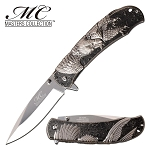 Silver Eagle Design Spring Assisted Opening Pocket Knife Black Handle