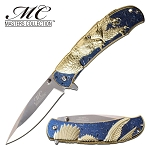 Gold Eagle Design Spring Assisted Opening Pocket Knife Blue Handle