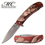 Bronze Eagle Design Spring Assisted Opening Pocket Knife Red Handle