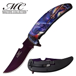 GOT Fire Dragon Spring Assisted Opening Pocket Knife Purple Blade