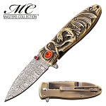 Spring Assisted Knife Gold Dragon Handle Pocket Knife