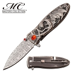 Spring Assisted Knife Silver Dragon Handle Pocket Knife