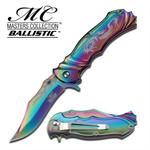 Flaming Blade Spring Assisted Knife - Silver Dragon on Titanium Rainbow Handle