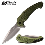 8 Inch Manual Pocket Knife Green Aluminum Handle