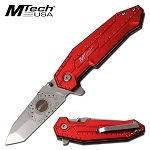 Mtech Folding Pocket Knife Aluminum Handle 4.5 Inch Red