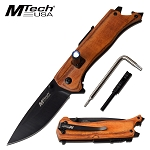 Pocket Folding Knife Outdoor Adventure Camping Knife Brown Wood