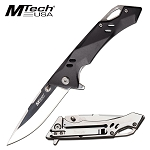 7.75 Inch Mtech Manual Pocket Knife Black Aluminum Handle