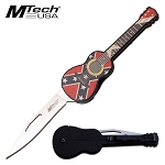 Guitar Manual Folding Pocket Knife Mtech Knives Confederate Flag
