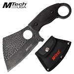 7.25 Inch Mtech Fixed Blade Cleaver Knife Black Pakkawood Handle