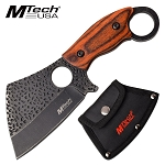 7.25 Inch Mtech Fixed Blade Cleaver Knife Brown Pakkawood Handle