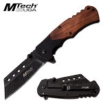 Black Cleaver Blade Spring Assisted Pocket Knife Pakka Wood Handle