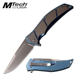 Mtech Knife Spring Assisted Knife Stainless Steel Blue Handle