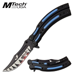 Mtech Pocket Knife Spring Assisted Knife Hungry Shark Blade