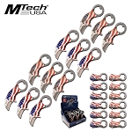 Mtech 4.3 Inch US Flag Spring Assisted Knife 12 Piece POP Box